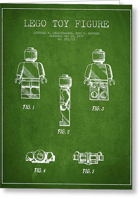 Lego Digital Art Greeting Cards - Lego Toy Figure Patent - Green Greeting Card by Aged Pixel