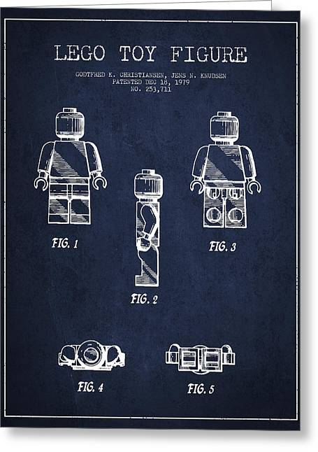 Technical Greeting Cards - Lego Toy Figure Patent - Navy Blue Greeting Card by Aged Pixel
