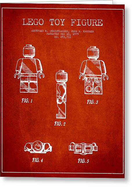 Lego Digital Art Greeting Cards - Lego Toy Figure Patent - Red Greeting Card by Aged Pixel