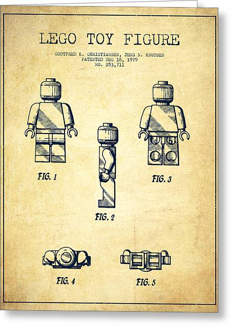 Lego Digital Art Greeting Cards - Lego Toy Figure Patent - Vintage Greeting Card by Aged Pixel