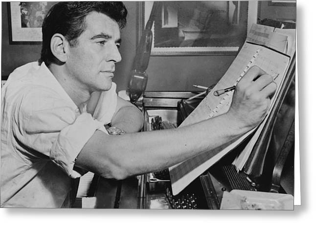 1950s Music Greeting Cards - Leonard Bernstein Greeting Card by Mountain Dreams