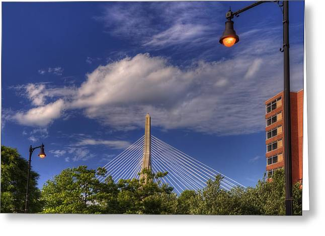 Boston Garden Greeting Cards - Leonard P Zakim Bridge - Boston Greeting Card by Joann Vitali