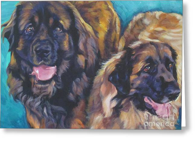Leonberger Greeting Cards - Leonberger Pair Greeting Card by Lee Ann Shepard