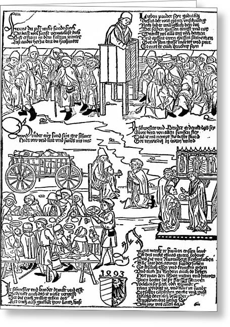 1493 Greeting Cards - Lepers, 1493 Greeting Card by Granger