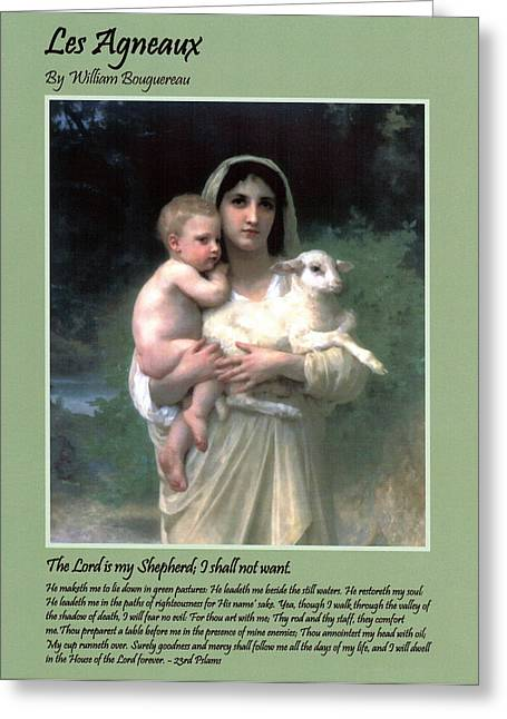 Child Jesus Greeting Cards - Les Agneaux Greeting Card by William Bouguereau