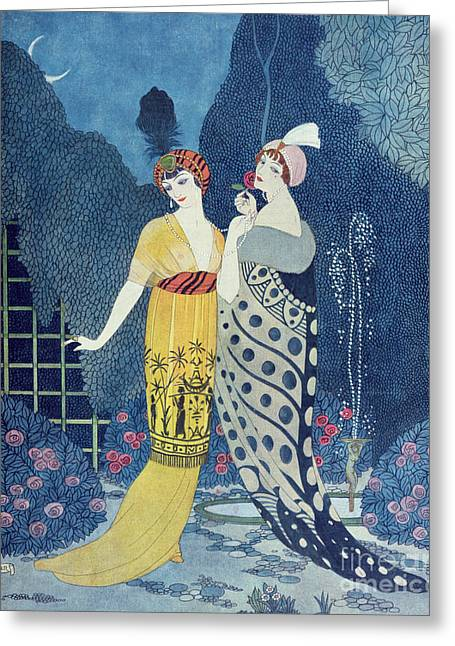 Rose Bushes Greeting Cards - Les Modes Greeting Card by Georges Barbier