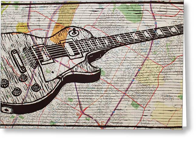 Lino Drawings Greeting Cards - Les Paul on Austin Map Greeting Card by William Cauthern