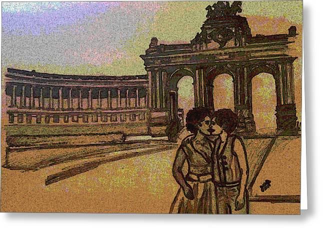Interracial Art Greeting Cards - Lesbians in Belgium Greeting Card by Jasmine Wolfe