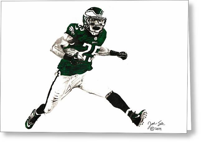 Sports Nfl Art Sketch Drawings Nfl Art Nfl Artwork Nfl Drawings Nfl Sketches Seattle Seahawksseattle Seahawks Russell Wilson Greeting Cards - Lesean McCoy #25 Eagles Greeting Card by Jordan Spector