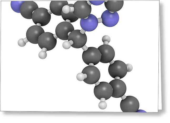 Letrozole Breast Cancer Drug Molecule Greeting Card by Molekuul
