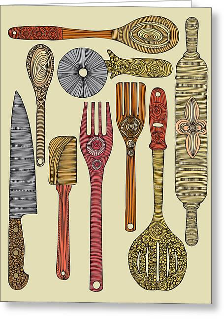 Rolling Pin Greeting Cards - Lets Cook Greeting Card by Valentina Ramos
