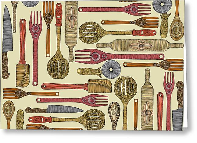 Rolling Pin Greeting Cards - Lets Cook Greeting Card by Valentina