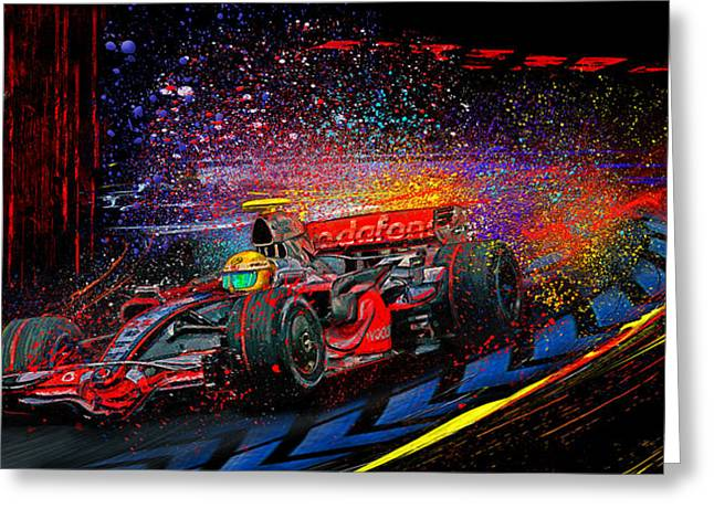World Champions Mixed Media Greeting Cards - Lewis Greeting Card by Alan Greene