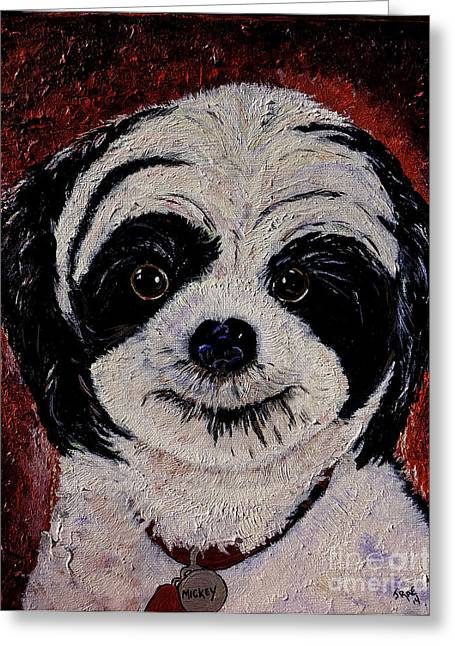 Puppies Paintings Greeting Cards - Lhasa Apso Greeting Card by Janice Rae Pariza