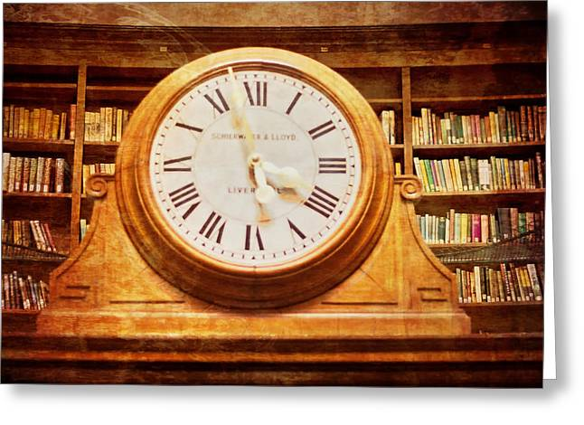 Table Lamp Greeting Cards - Library Clock Greeting Card by Nomad Art And  Design