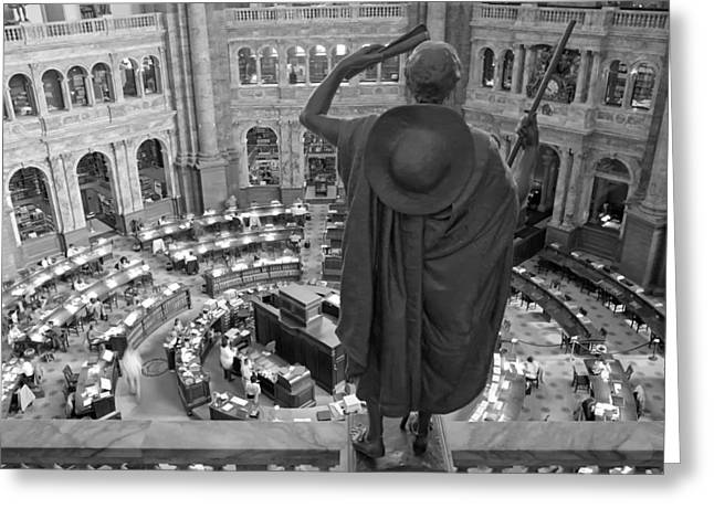 Historic Statue Greeting Cards - Library of Congress Reading Room Greeting Card by Mountain Dreams