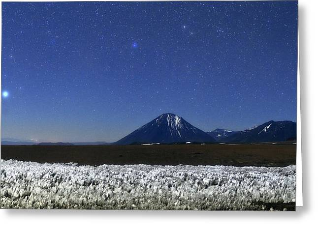 Andean Greeting Cards - Licancabur volcano at night Greeting Card by Science Photo Library