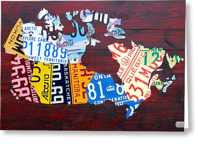 Canada Mixed Media Greeting Cards - License Plate Map of Canada Greeting Card by Design Turnpike