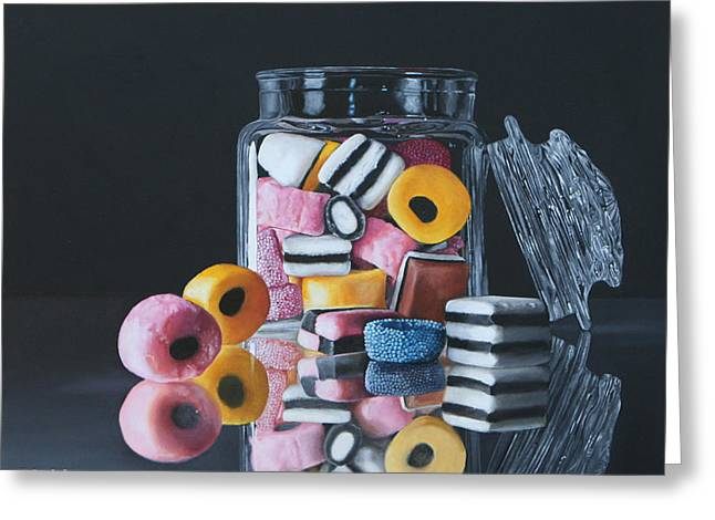 Licorice Paintings Greeting Cards - Licorice Allsorts by K Henderson Greeting Card by K Henderson