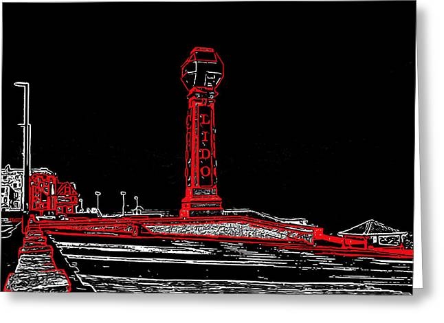 Linocut Greeting Cards - Lido Cliftonville Greeting Card by Jeff Laurents