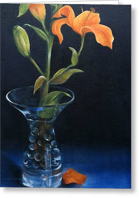 Glass Vase Greeting Cards - Life Cycle of a Lily Greeting Card by Marcia Stoetzel
