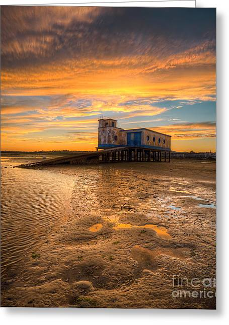 Praia De Faro Greeting Cards - Lifeboat Station Sunset Greeting Card by English Landscapes