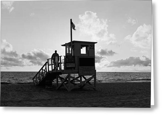 California Beach Greeting Cards - Lifeguard Hut On The Beach, 22nd St Greeting Card by Panoramic Images