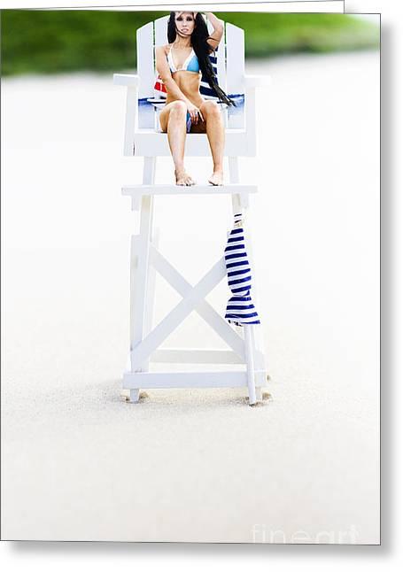 Wooden Platform Greeting Cards - Lifeguard Greeting Card by Ryan Jorgensen