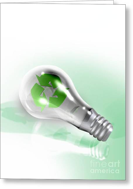 Responsible Greeting Cards - Light Bulb Recycling, Conceptual Image Greeting Card by Victor Habbick Visions