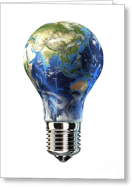 Problems Digital Greeting Cards - Light Bulb With Planet Earth Greeting Card by Leonello Calvetti