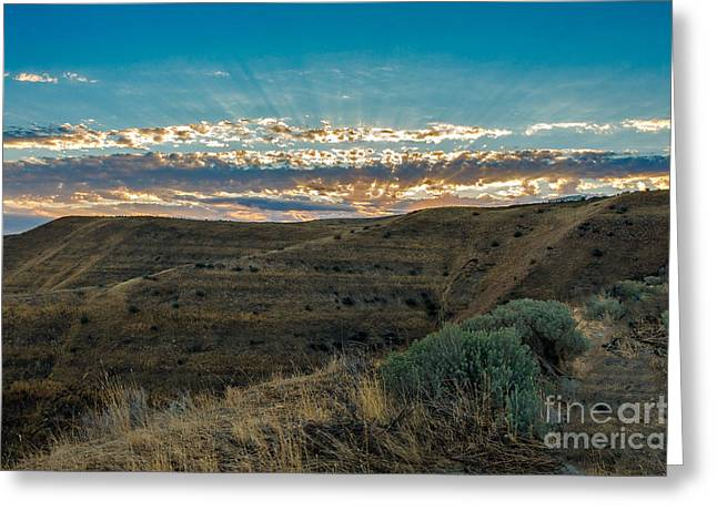 Haybale Greeting Cards - Light From Heaven Greeting Card by Robert Bales
