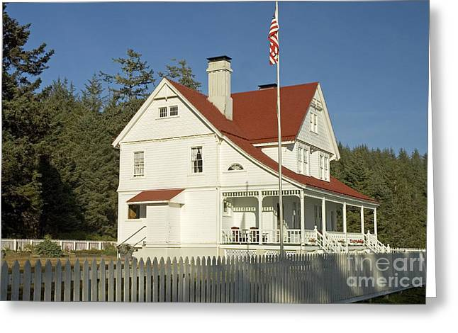 Keepers House Greeting Cards - Light Keepers House, Oregon Greeting Card by Richard and Ellen Thane