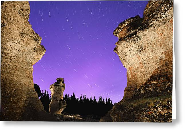 Monolith Greeting Cards - Light Painting On Monolith And Star Greeting Card by Yves Marcoux