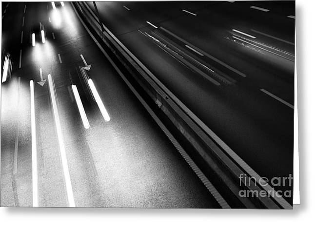 Asphalt Greeting Cards - Light Trails Greeting Card by Carlos Caetano