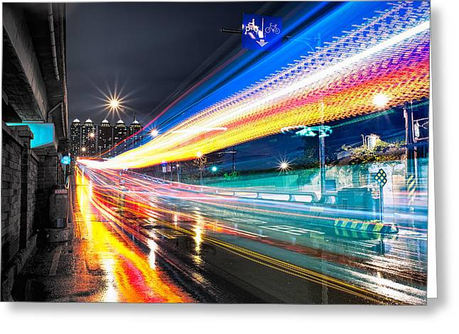 Magic Bus Greeting Cards - Light Trails Greeting Card by David Thompson