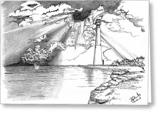 Storm Prints Drawings Greeting Cards - Lighthouse Greeting Card by Andooga Design