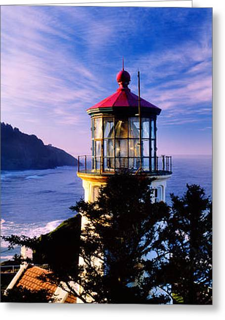 Oregon Lighthouse Image Greeting Cards - Lighthouse At A Coast, Heceta Head Greeting Card by Panoramic Images