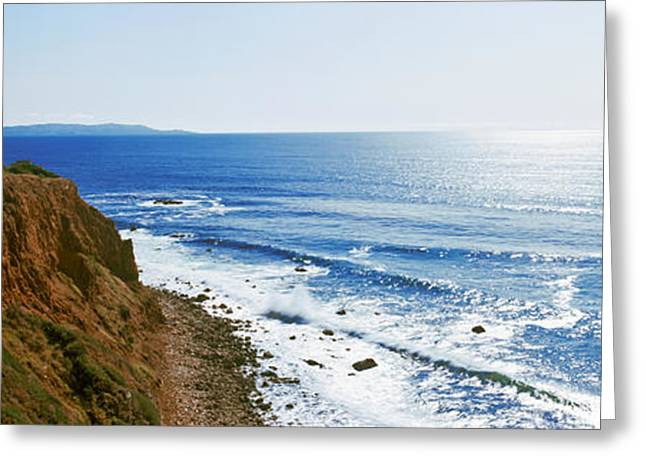 Cliffs Over Ocean Greeting Cards - Lighthouse At A Coast, Point Vicente Greeting Card by Panoramic Images