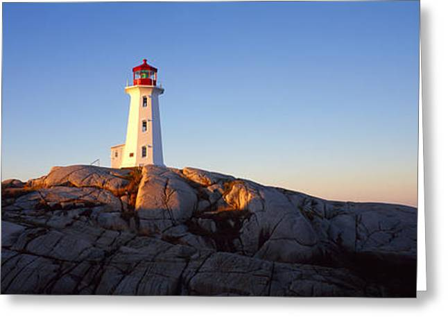 Halifax Greeting Cards - Lighthouse At The Coast, Peggys Point Greeting Card by Panoramic Images