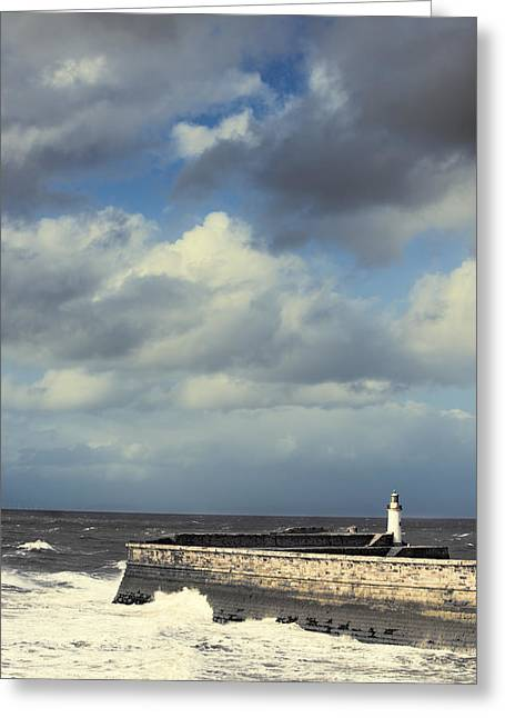 Sea Wall Greeting Cards - Lighthouse At Whitehaven Greeting Card by Amanda And Christopher Elwell