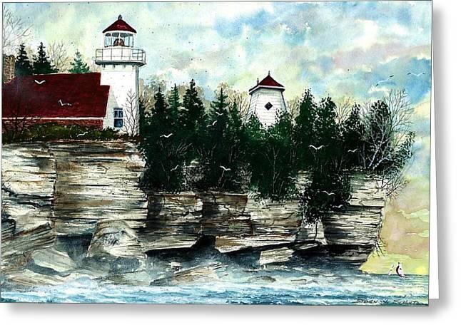 Award Winning Art Greeting Cards - Lighthouse Cliff Greeting Card by Steven Schultz