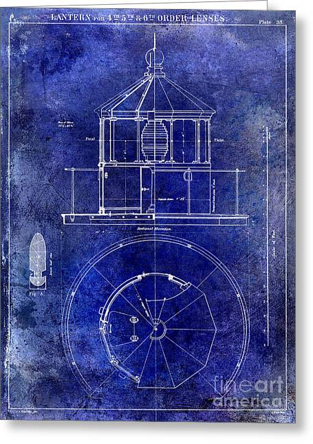 Vintage Boat Greeting Cards - Lighthouse Lantern Lense Order Blueprint  Greeting Card by Jon Neidert