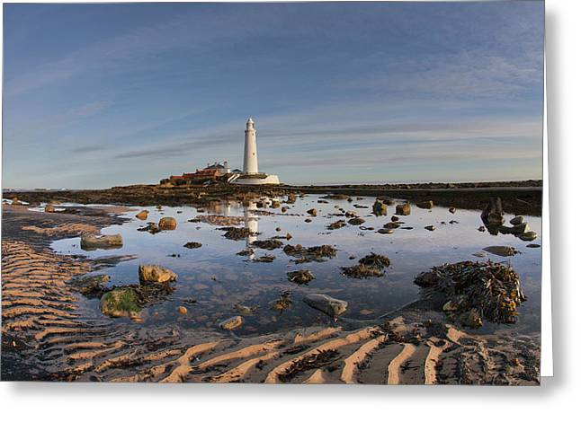 Lighthouse On St. Mary S Island Greeting Card by John Short