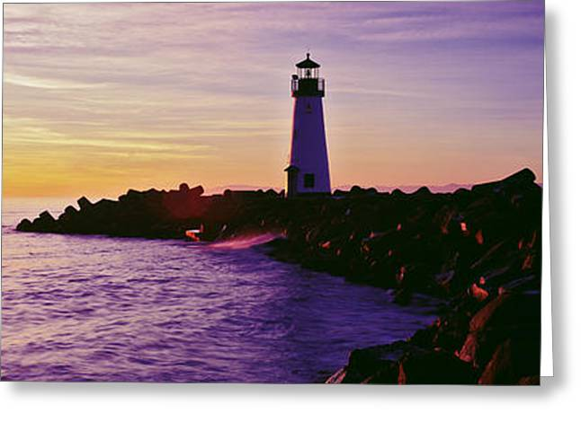 California Ocean Photography Greeting Cards - Lighthouse On The Coast At Dusk, Walton Greeting Card by Panoramic Images