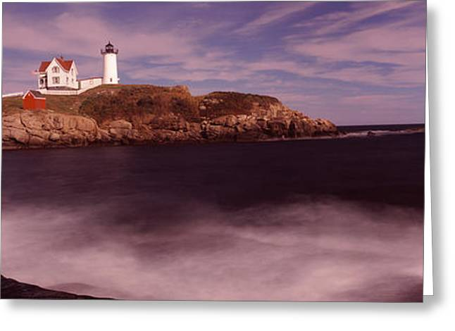 Cape Neddick Lighthouse Greeting Cards - Lighthouse On The Coast, Nubble Greeting Card by Panoramic Images