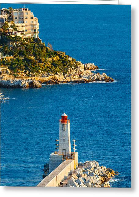 Lighthouse On The Riviera Greeting Card by Sarit Sotangkur