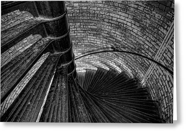 Lighthouse Stairs - Black And White Greeting Card by Peter Tellone
