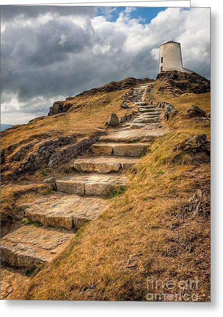 Stepping Stones Greeting Cards - Lighthouse Steps Greeting Card by Adrian Evans