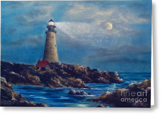Pacific Pastels Greeting Cards - Lighthouse Greeting Card by Teresa Ascone