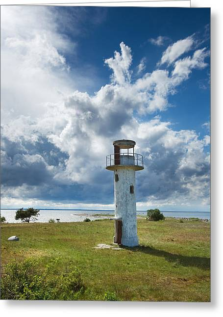 View Pyrography Greeting Cards - Lighthouse with beautiful sky Greeting Card by Anna Grigorjeva